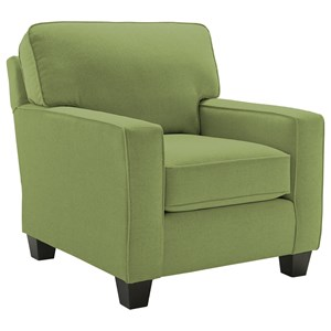 <b>Customizable</b> Contemporary Chair with Track Arms and Tapered Legs