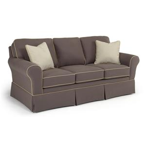 <b>Customizable</b> Traditional Sofa with Rolled Arms and Skirted Base