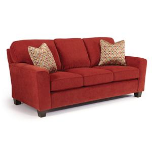 <b>Customizable</b> Transitional Sofa with Beveled Arms and Tapered Legs