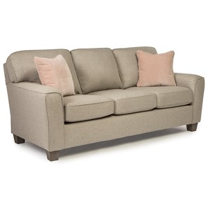Customizable Transitional Sofa with Beveled Arms and Tapered Legs