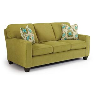 Customizable Contemporary Sofa with Track Arms and Tapered Legs