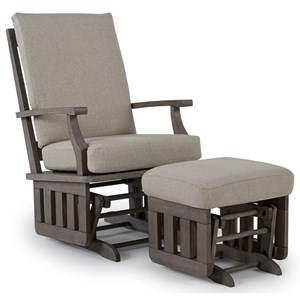Casual Glide Rocker and Ottoman Set with Modern Slat Design
