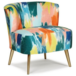 Contemporary Accent Barrel Chair with Metal Legs