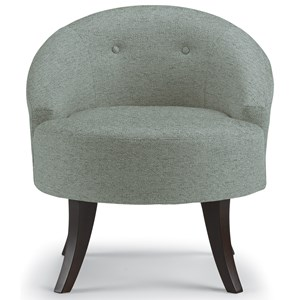 Contemporary Swivel Barrel Chair with Button Tufting