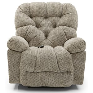 Casual Swivel Rocker Recliner with Tufted Back
