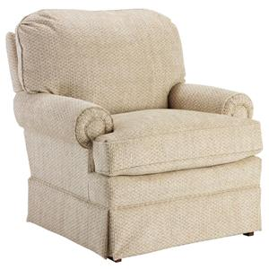 Swivel Glider Club Chair with Welt Cord Trim