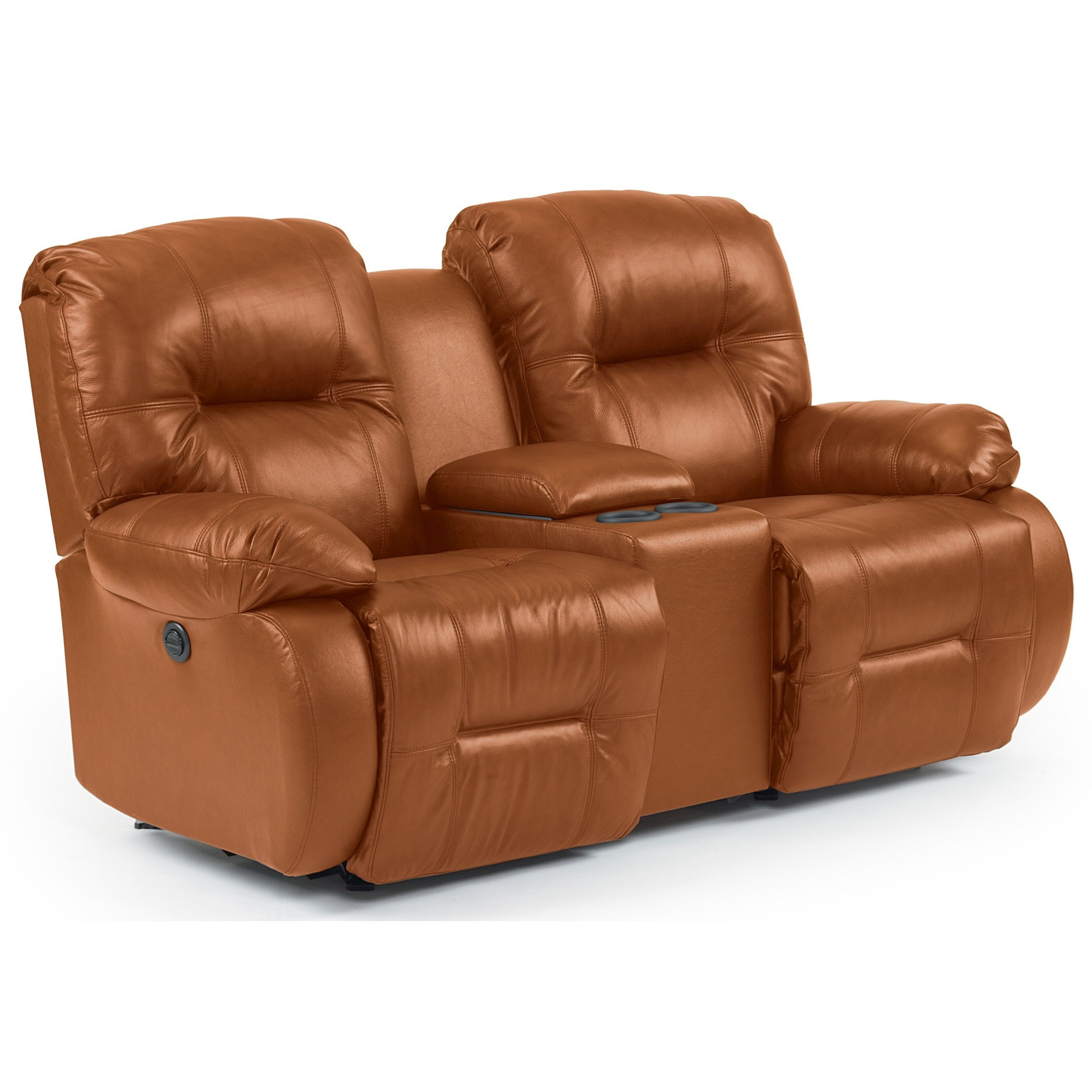 Brinley 2 Power Rocking Reclining Console Loveseat by Best Home Furnishings at Best Home Furnishings