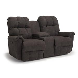 Casual Rocking Reclining Loveseat with Storage Console