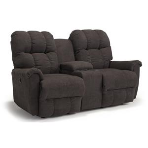 Casual Power Space Saver Reclining Loveseat with Storage Console