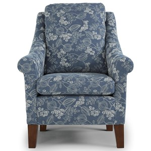 Transitional Club Chair with Reversible Seat Cushion