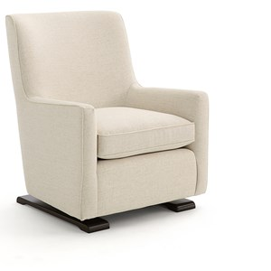 Contemporary Swivel Gliding Chair with Wood Runners