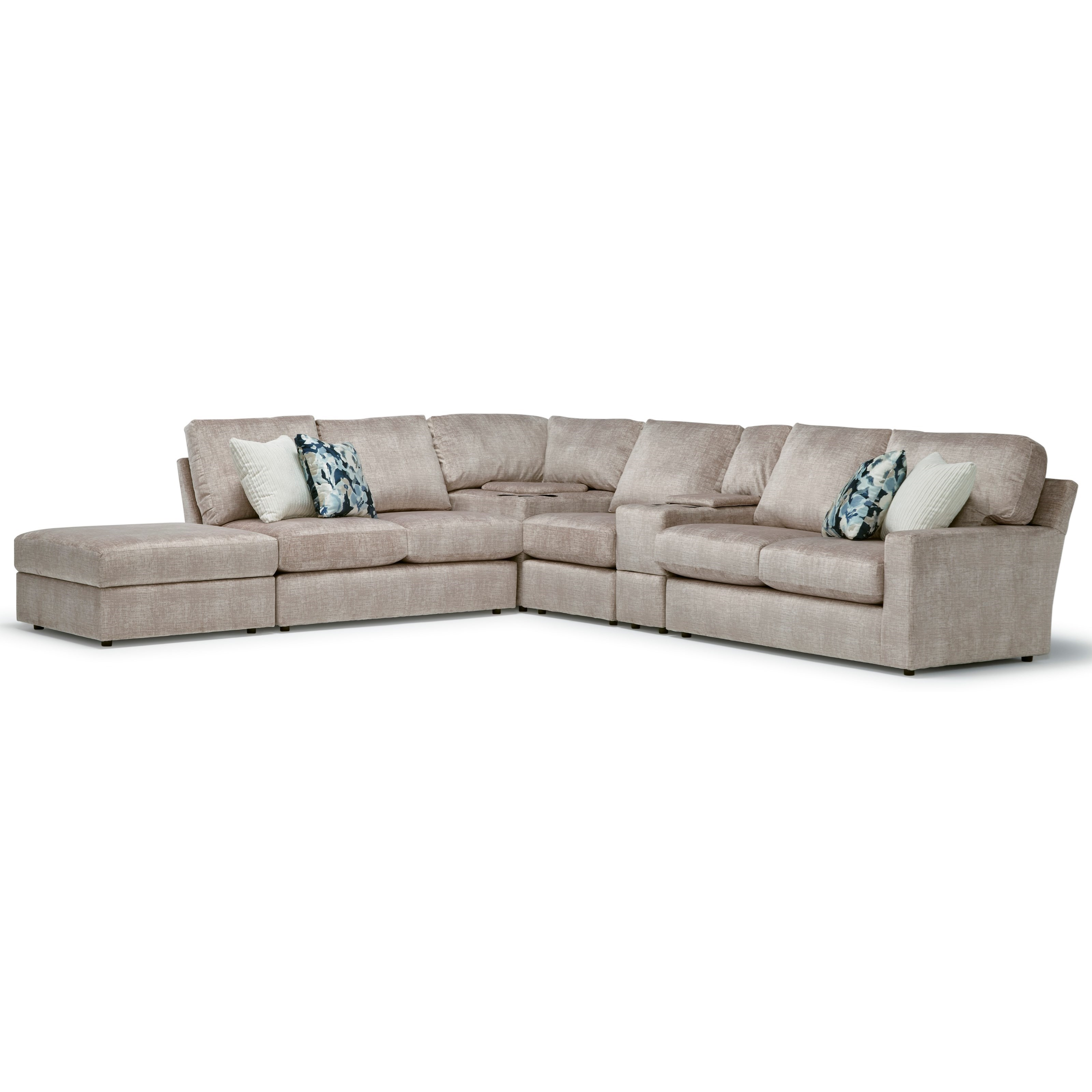Dovely 5-Seat Sofa w/ Wireless Charge & LAF Ottoman by Best Home Furnishings at Steger's Furniture