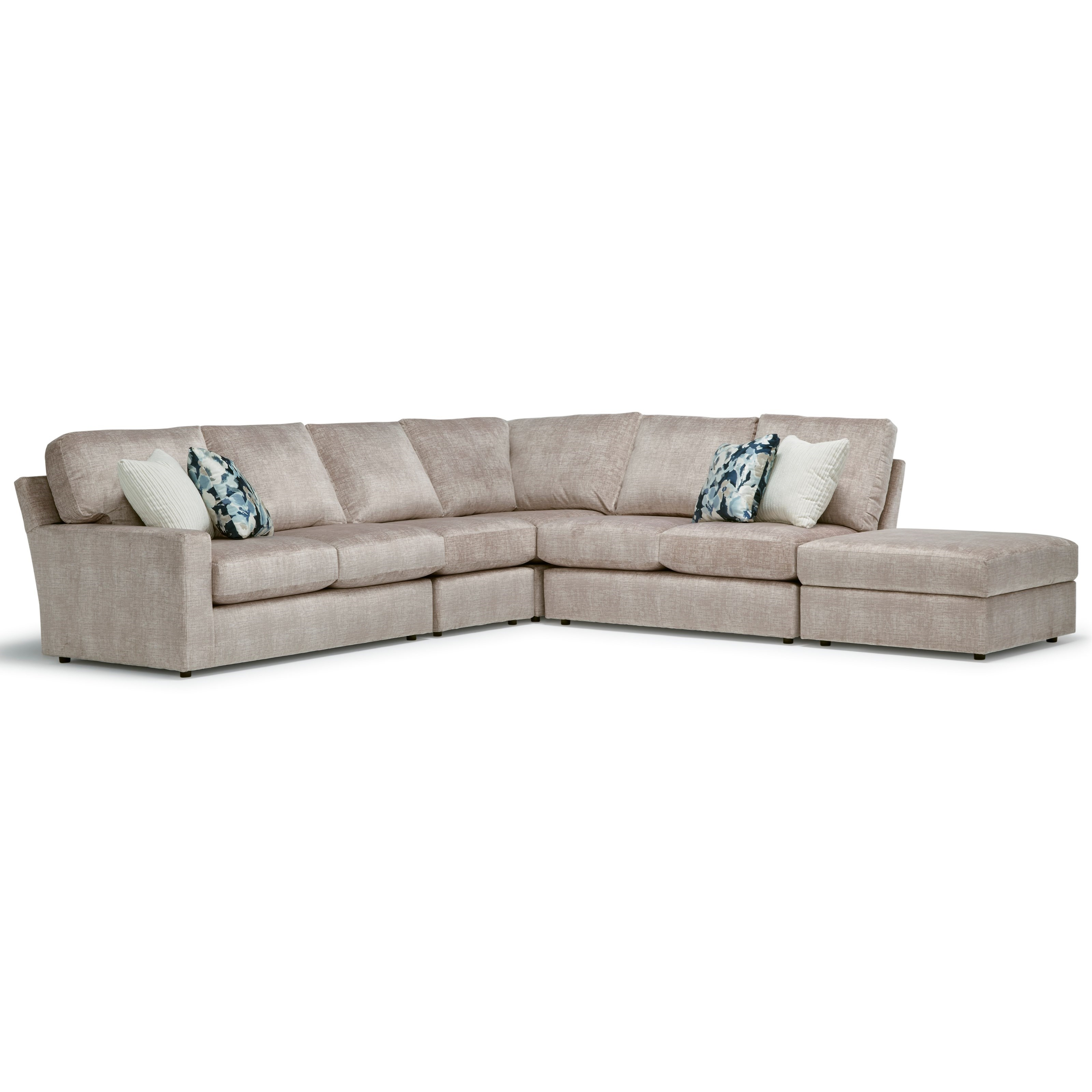 Dovely 5-Seat Sectional Sofa w/ RAF Ottoman Piece by Best Home Furnishings at Baer's Furniture