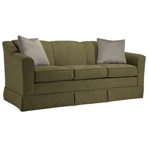 "<b>Customizable</b> 84"" Sofa with Beveled Arm and Skirted Base"