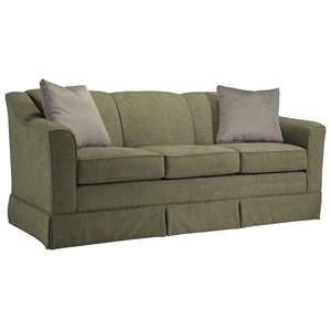 "Customizable 84"" Sofa with Beveled Arm and Skirted Base"