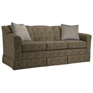"<b>Customizable</b> 84"" Sofa with Beveled Arm and Skirted Base"