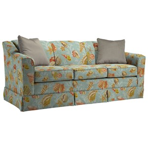 "Customizable 84"" Sofa with Beveled Arm and Skirted Base"