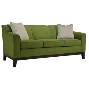 """Customizable 84"""" Sofa with Beveled Arms and Wood Legs"""