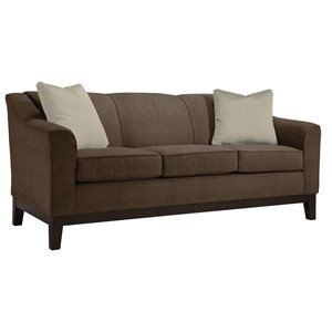 "Customizable 84"" Sofa with Beveled Arms and Wood Legs"