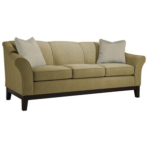 """Customizable 84"""" Sofa with Flared Arms and Wood Legs"""