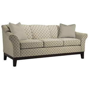 "Customizable 84"" Sofa with Flared Arms and Wood Legs"