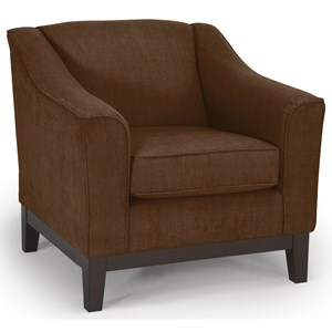 <b>Customizable</b> Chair with Beveled Arms and Wood Legs