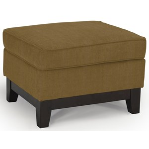 Customizable Ottoman with Wood Legs