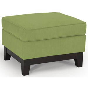 <b>Customizable</b> Ottoman with Wood Legs