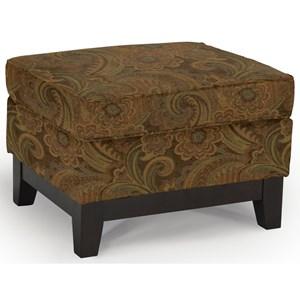 <b>Customizable</b> Ottoman with Wood Legs