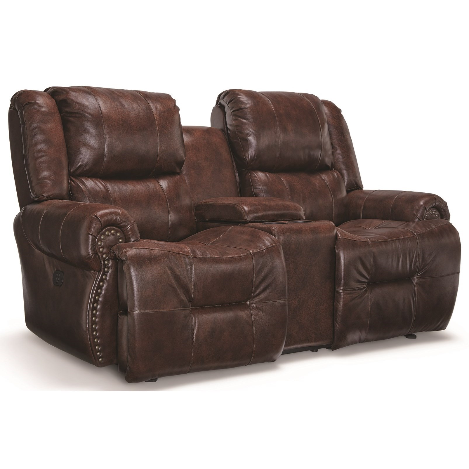 Genet Power Rocking Reclining Console Loveseat by Best Home Furnishings at Best Home Furnishings