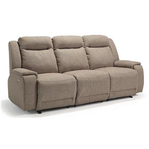 Casual Power Reclining Sofa with Memory Foam Cushions