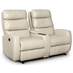 Power Rocking Reclining Console Loveseat with Power Tilt Headrests and USB Charging Ports