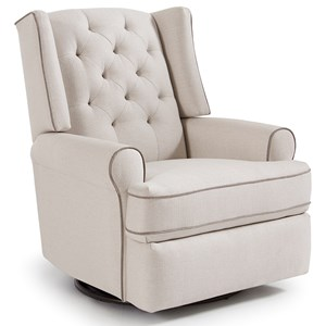Traditional Tufted Swivel Glider Recliner with Inside Handle