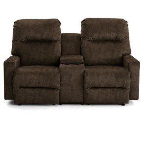 Contemporary Space Saver Reclining Console Loveseat