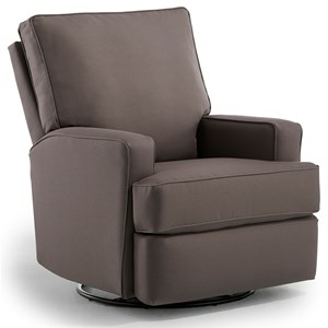 Contemporary Swivel Glider Recliner with Inside Handle