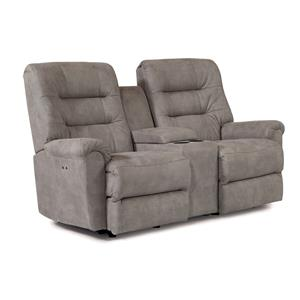 Best Home Furnishings Langston Power Rocker Recliner Loveseat with Console