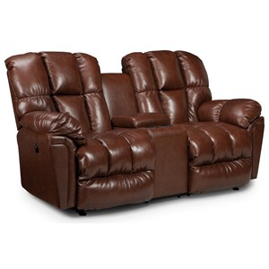 Plush Space Saver Reclining Loveseat with Drink Console
