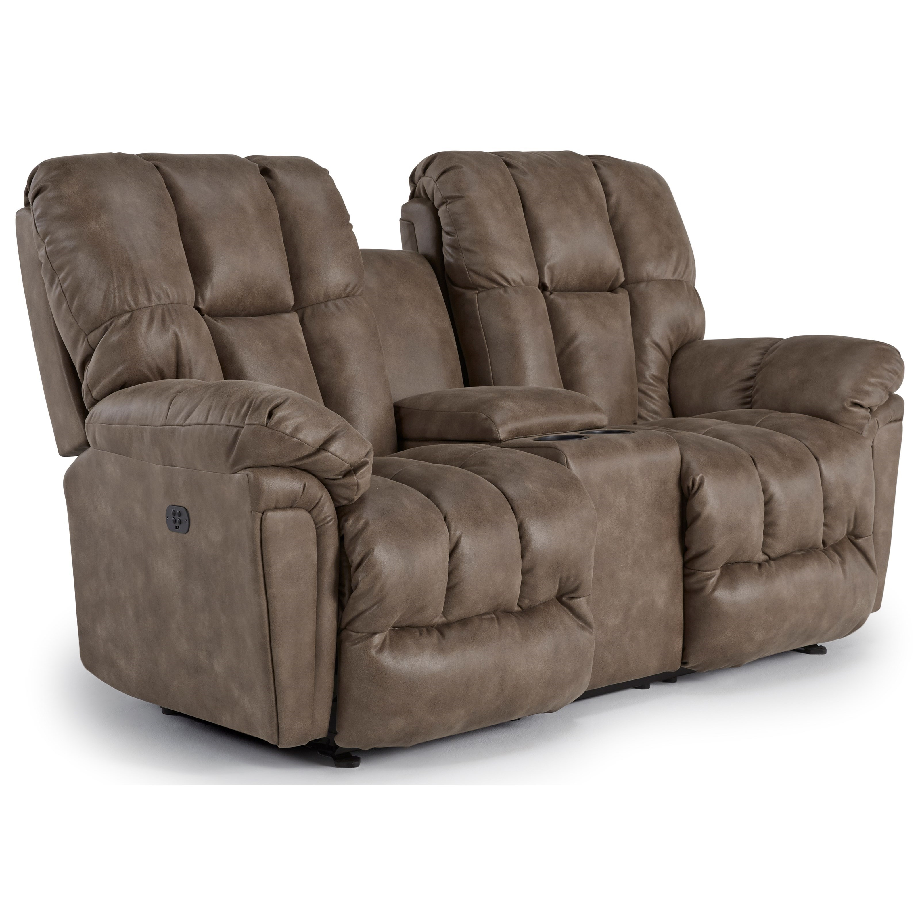 Lucas Pwr Space Saver Reclining Loveseat w/ Cnsle by Bravo Furniture at Bennett's Furniture and Mattresses