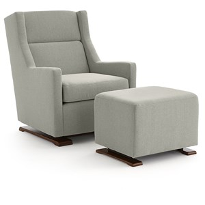 Casual Swivel Gliding Chair with Wood Runners and Gliding Ottoman