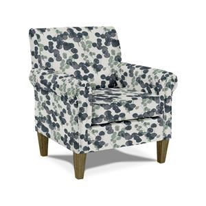 Transitional Club Chair with Rolled Arms