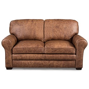 Casual Loveseat with Large Rolled Arms