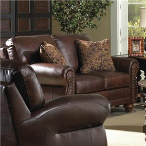 Traditional Leather Loveseat with Nailhead Trim