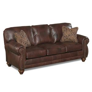 Stationary Leather Sofa With Nailhead Trim