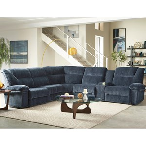 Six Piece Reclining Sectional Sofa with Cupholder Storage Console