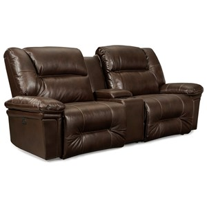 Casual Space Saver Reclining Sofa with Wide Seats and Cupholder Console