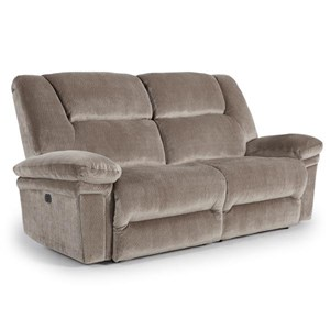 Casual Space Saver Power Reclining Sofa with Power Tilt Headrests and USB Ports