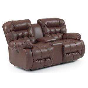 Best Home Furnishings Plusher Power Rocker Reclining Loveseat with Console
