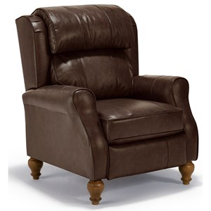 Traditional Patrick Pushback Recliner with Turned Wood Legs