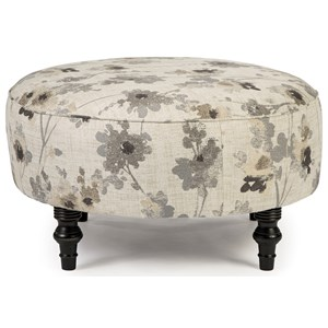 Transitional Round Cocktail Ottoman