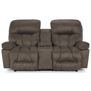Casual Rocker Recliner Loveseat with Cupholder Storage Console